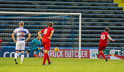 Brora Rangers Dale Gillespie scores their penalty. half time : Morton 1 v 1 Brora Rangers, 3rd Round of the Scottish Cup played 23/11/2019 at Cappielow, Greenock.