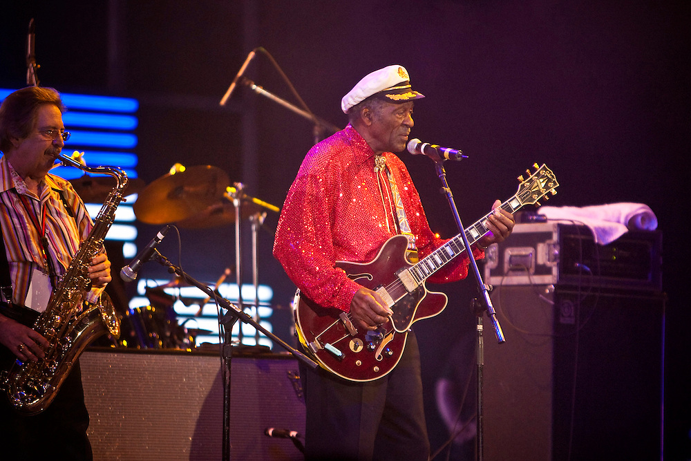 Chuck Berry performing on stage at the Domino Effect Benefit Concert in the New Orleans Arena in New Orleans, Louisiana, USA, 30 May 2009.