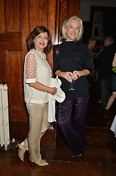 Left to right, PILAR BOXFORD and SOPHIE FRYDMAN at a party to celebrate opening of Galerie Kreo in London held at Il Bottaccio, Grosvenor Place, London on 17th September 2014.