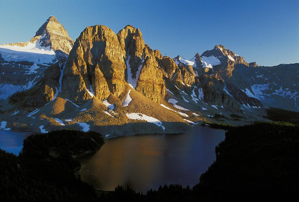 Mount Assiniboine and Sunburst Lake, evening light, Mount Assiniboine Provincial Park, British Columbia, Canada