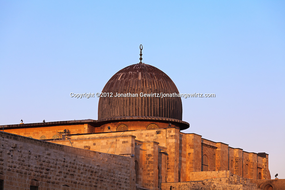 The dome of the Al Aqsa mosque on the Temple Mount in Jerusalem. WATERMARKS WILL NOT APPEAR ON PRINTS OR LICENSED IMAGES.