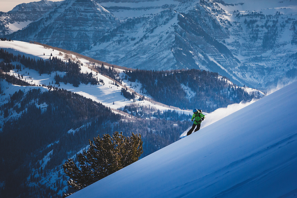 Splitboarder Zach Grant takes in the view from Eagle Run South, Dry Fork, Wasatch Mountains, February 2014.