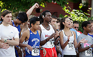 Middletown, New York - Runners gather on the starting line before the 15th annual Ruthie Dino Marshall 5K Run and Fun Walk hosted by the Middletown YMCA on Sunday, June 5, 2011. ©Tom Bushey / The Image Works