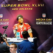 1/29/13 New Orleans LA.-San Francisco WR Michael Crabtree, speaks to the world press at Super Bowl XLV11 Media Day at the the Mercedes Benz Super Dome for the NFC champion San Francisco 49ers's and the AFC Champions  Baltimore Ravens  prior to Super Bowl XLV11 in New Orleans. Photo©Suzi Altman