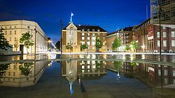 Reflection of Politigården at twilight, Copenhagen, Denmark. 25/05/14. Photo by Andrew Tallon