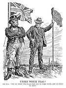 """Under Which Flag? John Bull. """"One of these two flags has got to come down - and it won't be mine."""""""
