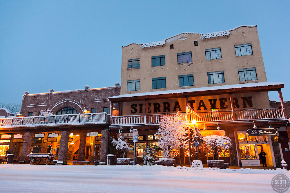 """""""Snowy Sierra Tavern 1"""" - This snow scene of the Sierra Tavern and Commercial Row was photographed in historic Downtown Truckee, CA."""