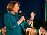 01 FEBRUARY 2020 - DES MOINES, IOWA: US Senator AMY KLOBUCHAR (D-MN) makes a face while telling a joke during a campaign speech to a crowd of about 700 people during a campaign event in Des Moines. Sen. Klobuchar campaigned to support her candidacy for the US Presidency Saturday in Iowa. She is trying to capitalize on her recent uptick in national polls. Iowa holds the first selection event of the presidential election cycle. The Iowa Caucuses are Feb. 3, 2020.             PHOTO BY JACK KURTZ