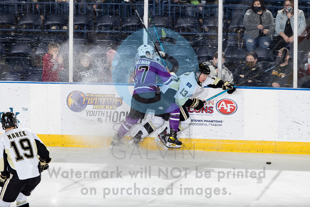 Youngstown Phantoms lose 3-2 in a shootout to the Muskegon Lumberjacks at the Covelli Centre on February 27, 2021.<br /> <br /> Will Hillman, forward, 17