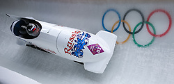 16-02-2014 BOBSLEE: OLYMPIC GAMES: SOTSJI<br /> Alexander Zubkov and Alexey Voevoda Bob Russian Fed. 1 of Russia during Heat 2 of Two-man Bobsleigh of the Olympic Winter Games Sochi 2014 at the Sliding Center Sanki<br /> ©2014-FotoHoogendoorn.nl