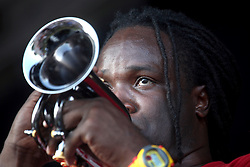 05 May 2012. New Orleans, Louisiana,  USA. .New Orleans Jazz and Heritage Festival. .Shamarr Allen makes a guest appearance with American country band 'Asleep at the Wheel,' winners of 9 Grammy awards..Photo; Charlie Varley.