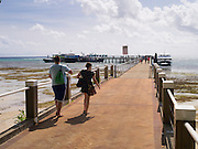 Tourists prepare to leave Green Island and the Great Barrier Reef, off the coast of Cairns, QLD, Australia