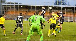 Falkirk's David McCracken header hits the post. <br /> Livingston 0 v 1 Falkirk, Scottish Championship played13/12/2014 at The Energy Assets Arena.
