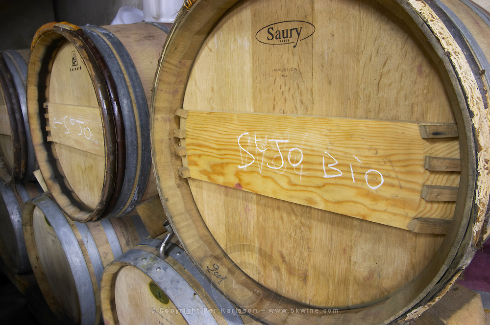 barrel with stamp saury dom a voge cornas rhone france