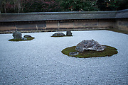 Japan, Kyoto, Ryoan-Ji Zen Buddhist temple, View of the dry rock garden of Ryoan-Ji