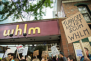 Bloomsburg, PA -- Several dozen community members picketed outside of the WHLM radio studio. The station's Director of New Media and on-air personality Dave Reilly attended the Unite the Right Rally in Charlottesville and posted video on social media which prompted several of the station's advertisers to pull ads.