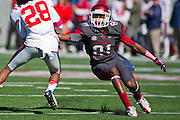 Oct 27, 2012; Little Rock, AR, USA; Arkansas Razorback wide receiver Demetrius Wilson (81) attempts to make a play during a game against the Ole Miss Rebels at War Memorial Stadium. Ole Miss defeated Arkansas 30-27. Mandatory Credit: Beth Hall-US PRESSWIRE