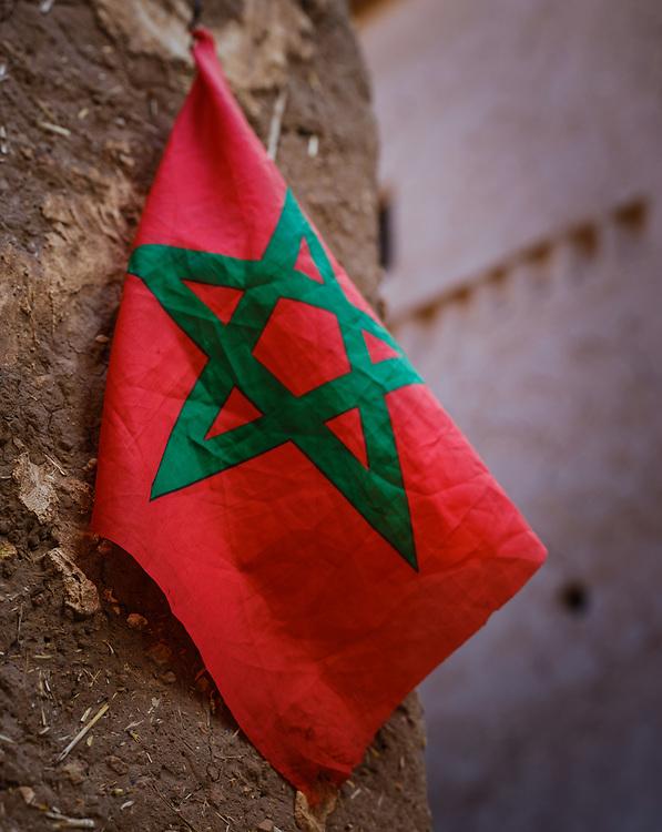 AIT BEN HADDOU, MOROCCO - CIRCA APRIL 2017: Detail of Moroccan  Flag in Ait Ben Haddou