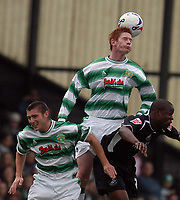 Photo: Alan Crowhurst.<br />Yeovil Town v Swansea. Coca Cola League 1. 08/10/2005. Matthew Harold of Yeovil outjumps the rest.