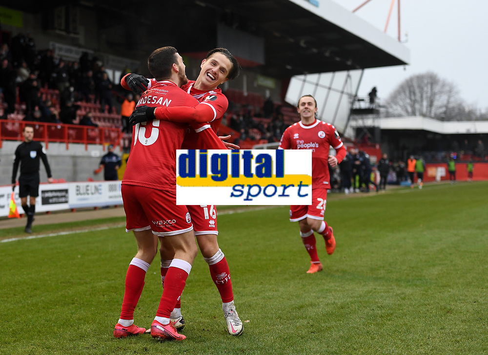 Football - 2020 / 2021 Emirates FA Cup - Round Three - Crawley Town v Leeds United - The People's Pension Stadium<br /> <br /> Crawley Town's Ashley Nadesan celebrates scoring his side's second goal with Tom Nichols.<br /> <br /> COLORSPORT/ASHLEY WESTERN