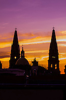 Metropolitan Cathedral (Catedral Metropolitana) at sunset, Plaza de Armas (square) in the historic Center of Guadalajara, Jalisco, Mexico