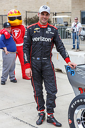 March 23, 2019 - Austin, TX, U.S. - AUSTIN, TX - MARCH 23: Will Power (12) sticks the winning sticker on his Verizon Team Penske, Chevrolet powered Dallara IR-18 after taking the pole during the IndyCar Classic held March 23, 2019 at the Circuit of the Americas in Austin, TX. (Photo by Allan Hamilton/Icon Sportswire) (Credit Image: © Allan Hamilton/Icon SMI via ZUMA Press)