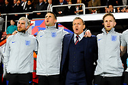 England U21's head coach Aidy Boothroyd singing the National Anthem before the U21 International match between England and Germany at the Vitality Stadium, Bournemouth, England on 26 March 2019.