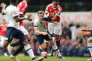 Jan Vertonghen of Tottenham Hotspur is held by Anthony Martial of Manchester United. Barclays Premier league match, Tottenham Hotspur v Manchester Utd at White Hart Lane in London on Sunday 10th April 2016.<br /> pic by John Patrick Fletcher, Andrew Orchard sports photography.