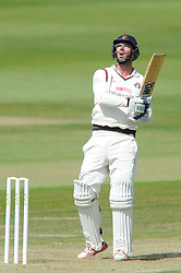 Jordan Clark of Lancashire looks on as he bats for the ball high - Photo mandatory by-line: Dougie Allward/JMP - Mobile: 07966 386802 - 07/06/2015 - SPORT - Football - Bristol - County Ground - Gloucestershire Cricket v Lancashire Cricket - LV= County Championship