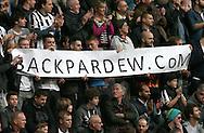 Newcastle Utd fans with a back Pardew banner - Barclays Premier League - Newcastle Utd vs Liverpool - St James' Park Stadium - Newcastle Upon Tyne - England - 1st November 2014  - Picture Simon Bellis/Sportimage