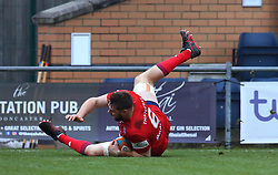 Nick Haining of Bristol Rugby scores a try - Mandatory by-line: Robbie Stephenson/JMP - 13/01/2018 - RUGBY - Castle Park - Doncaster, England - Doncaster Knights v Bristol Rugby - B&I Cup