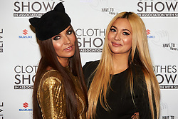 © Licensed to London News Pictures.  07/12/2012. BIRMINGHAM, UK. Stylist Grace Woodward (pictured left) and TV presenter Zara Martin (pictured right) is seen during the opening photo call for the Clothes Show Live event being held in the NEC, Birmingham. The show opens today and runs until Tuesday. Photo credit :  Cliff Hide/LNP