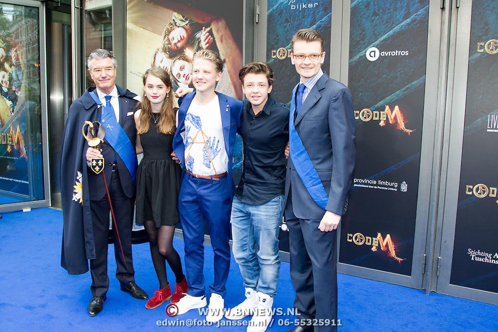 NLD/Amsterdam/20150620- Filmpremiere Code M, Nina Wyss, Joes Brauers, Senna Borsato met Camille Oostwegel, Consul Honoraire de France  en Laurent Pic, Ambassadeur van Frankrijk in Nederland