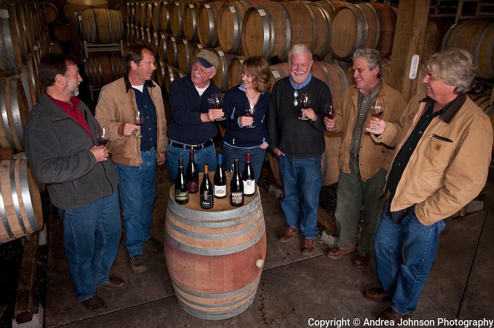 Oregon winemakers - Steve Doerner, Cristom; Mike Etzel, Beaux Freres; Terry Casteel, Bethel Heights; Lynn Penner-Ash, Ted Casteel, Bethel Heights; Ken Wright, and Laurant Montalieu, Solena