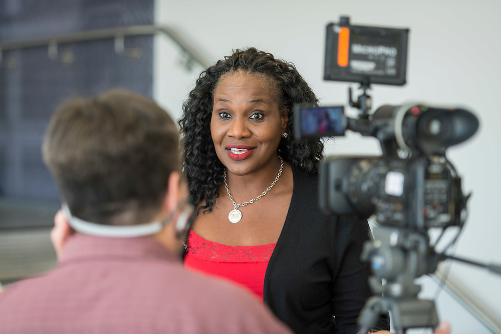 Houston ISD trustee Wanda Adams is interviewed following a ribbon cutting ceremony at South Early College High School, October 8, 2016.