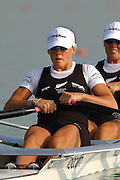 28/08/2003 Thursday.2003 World Rowing Championships, Idroscala. Milan, Italy.Semi finals, NZL W2X Caroline Evers-Swindell at the start of their semi final ... Milan. ITALY 2003 World Rowing Championships. Idro Scala Rowing Course. [Mandatory Credit: Peter Spurrier: Intersport Images.]