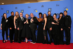 """Cast of HULUÕs ÔThe Handsmaid TaleÕ winners of ÒBest Television Series DramaÓ pose during NBC's """"75th Annual Golden Globe Awards"""" press room held at the Beverly Hilton Hotel on January 07, 2018 in Beverly Hills, CA, USA (Photo by Carlos Amaya/Sipa USA)"""