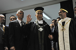 """Magistralis Degree at the Dalai Lama 21/09/2017-Pisa-Italy event by the lama At the Palazzo dei Congressi in Pisa on the last day of """"The Mindscience of Reality"""" where with the Ceremony for the Graduation of the Degree Magistralis Honoris Cause in Clinical Psychology and Health delivered to Tenzin Gyatso XIV Dalai Lama. In Photos: Arrival at the Auditorium of SS Dalai Lama. Photos RobertoCappa photojournalism."""