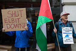 London, UK. 28th May, 2021. Activists from Palestine Action protest outside the UK headquarters of Elbit Systems, an Israel-based company developing technologies used for military applications including drones, precision guidance, surveillance and intruder-detection systems, on 28th May 2021 in London, United Kingdom. Pro-Palestinian activists had organised the protest against Elbit's presence in the UK and against British arms sales to and support for Israel.