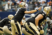 New Orleans Saints quarterback Drew Brees (9) points down the field at the line of scrimmage against the Dallas Cowboys at Cowboys Stadium in Arlington, Texas, on December 23, 2012.  (Stan Olszewski/The Dallas Morning News)