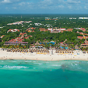 Aerial view of the Iberostar Hotels on Playa del Carmen. Mexico