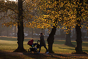 A mother pushes her child through an autumnal Ruskin Park in the south London borough of Lambeth. With golden leaves still to fall, the park is a welcome oasis of calm in this busy south London borough, the largest in London.
