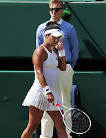 Tennis - 2017 Wimbledon Championships - Week One, Friday [Day Five]<br /> <br /> Womens Singles Third Round match<br /> Heather Watson (GBR) v Victoria Azarenka (BLR) <br /> <br /> Heather Watson turns away after having her 'Hawkeye' challenge refused for being too late calling on Centre court <br /> <br /> COLORSPORT/ANDREW COWIE
