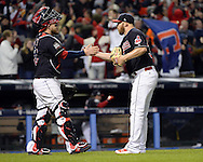 CLEVELAND, OH - OCTOBER 25: Roberto Perez #55 celebrates with Cody Allen #37 of the Cleveland Indians after defeating the Chicago Cubs 6-0 in Game 1 of the 2016 World Series at Progressive Field on Tuesday, October 25, 2016 in Cleveland, Ohio. (Photo by Ron Vesely/MLB Photos via Getty Images)