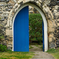 Arched painted door, Sandwich, Kent, England