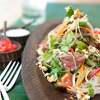 Thai Beef Salad with coriander and peanuts at luxurious Molori in Port Douglas, Queensland, Australia.