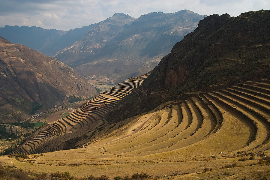 Inca agricultural terraces hug the hillsides at the Inca ruins above Pisac, Sacred Valley, Peru on September 23, 2005.