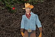 Painted metal cowboy sign in garden centre, Half Moon Bay, California