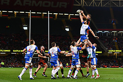 27th April 2019 , Principality Stadium , Cardiff, Wales ; Guinness pro 14's, Round 21, Dragons vs Scarlets ; Lewis Evans of Dragons claims the lineout<br /> <br /> Credit :  Craig Thomas/Replay Images