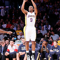 07 December 2014: Los Angeles Lakers guard Ronnie Price (9) takes a jump shot during the New Orleans Pelicans 104-87 victory over the Los Angeles Lakers, at the Staples Center, Los Angeles, California, USA.